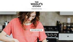 The Woolf's Kitchen homepage showing a woman cooking